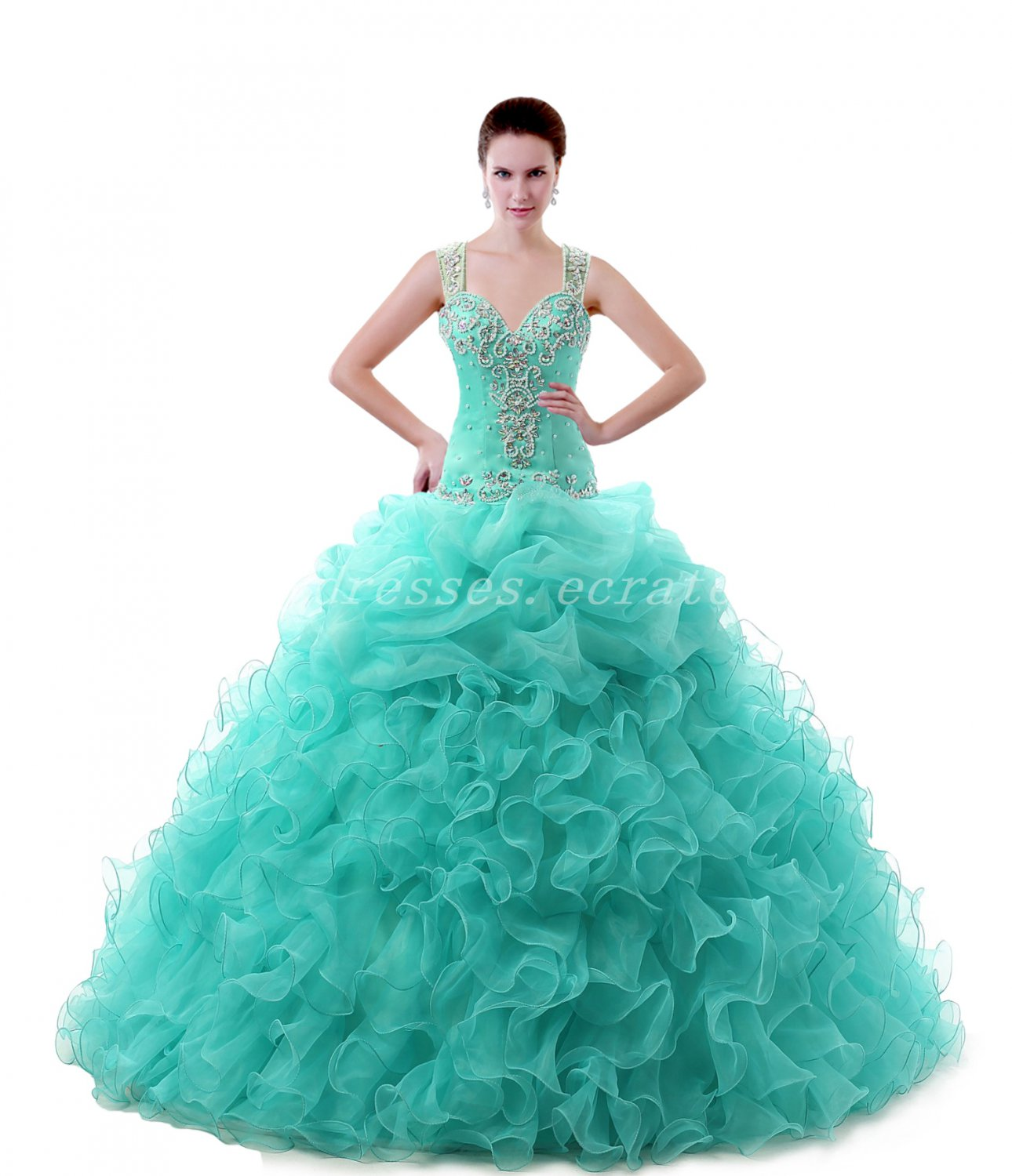 Dropped Waist Straps Organza Blue Quinceanera Dresses With Lace