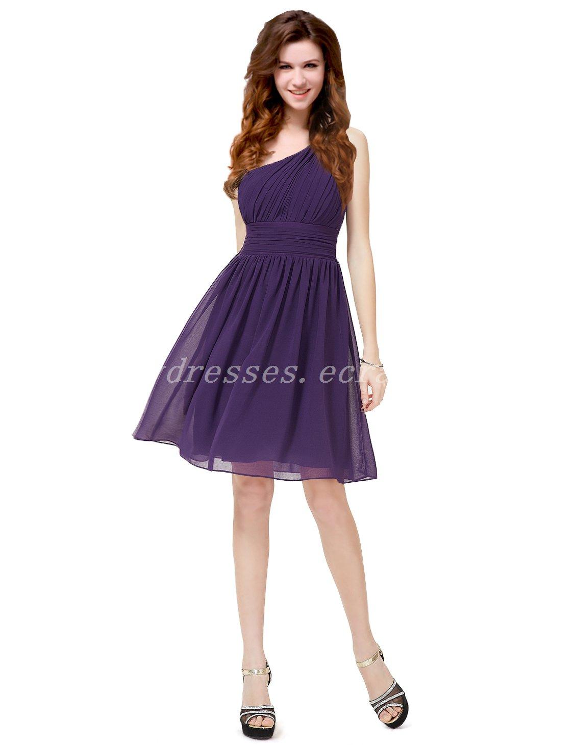 Asymmetrical One Shoulder Short Purple Bridesmaid Dresses