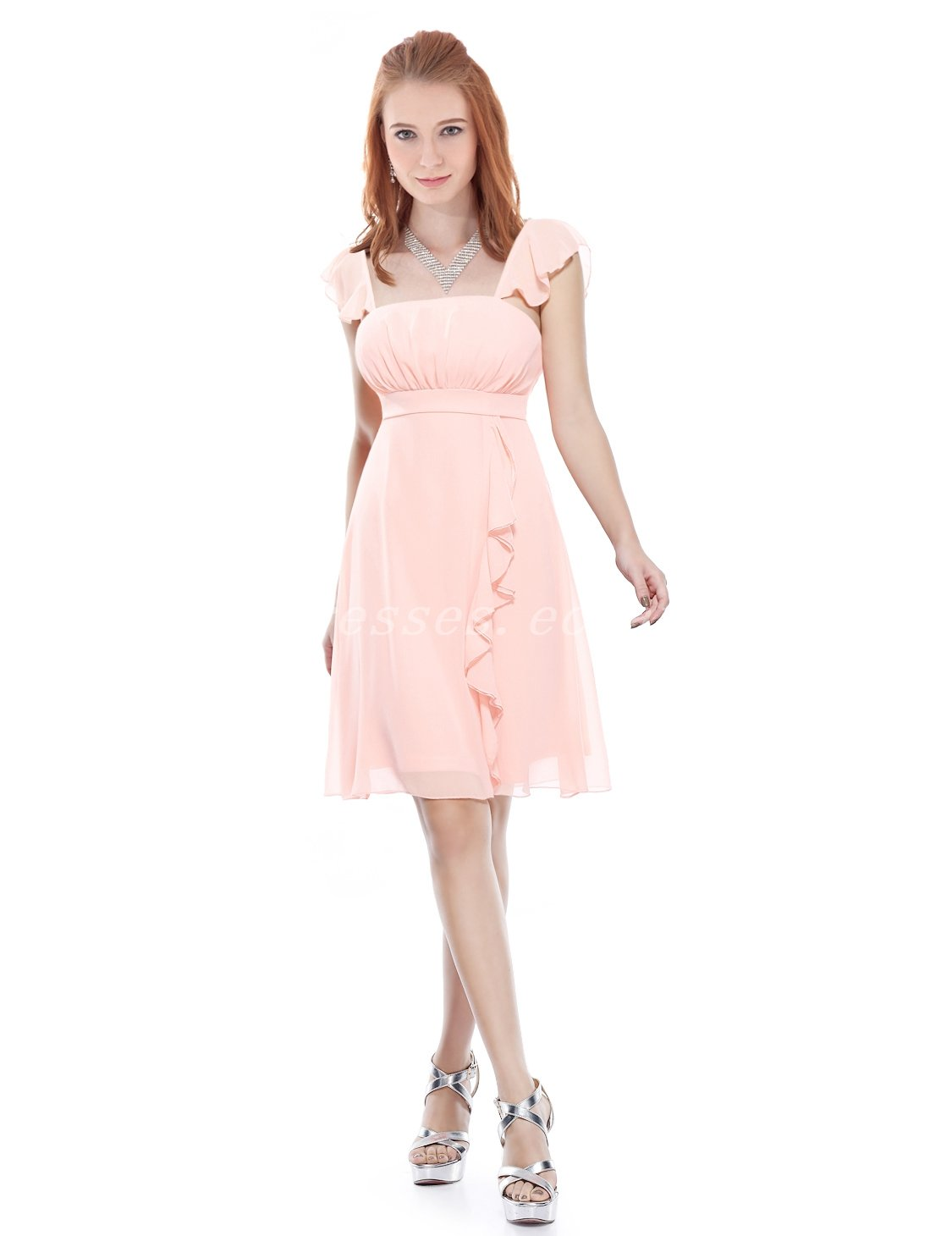 Cute Straps A-line Coral Chiffon Bridesmaid Dresses