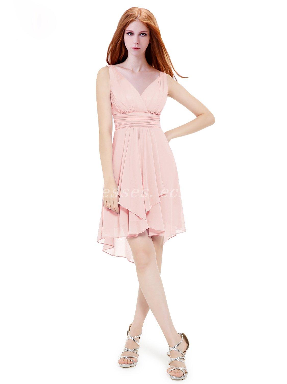 V-Neckline Short Bridesmaid Dresses For Summer Wedding