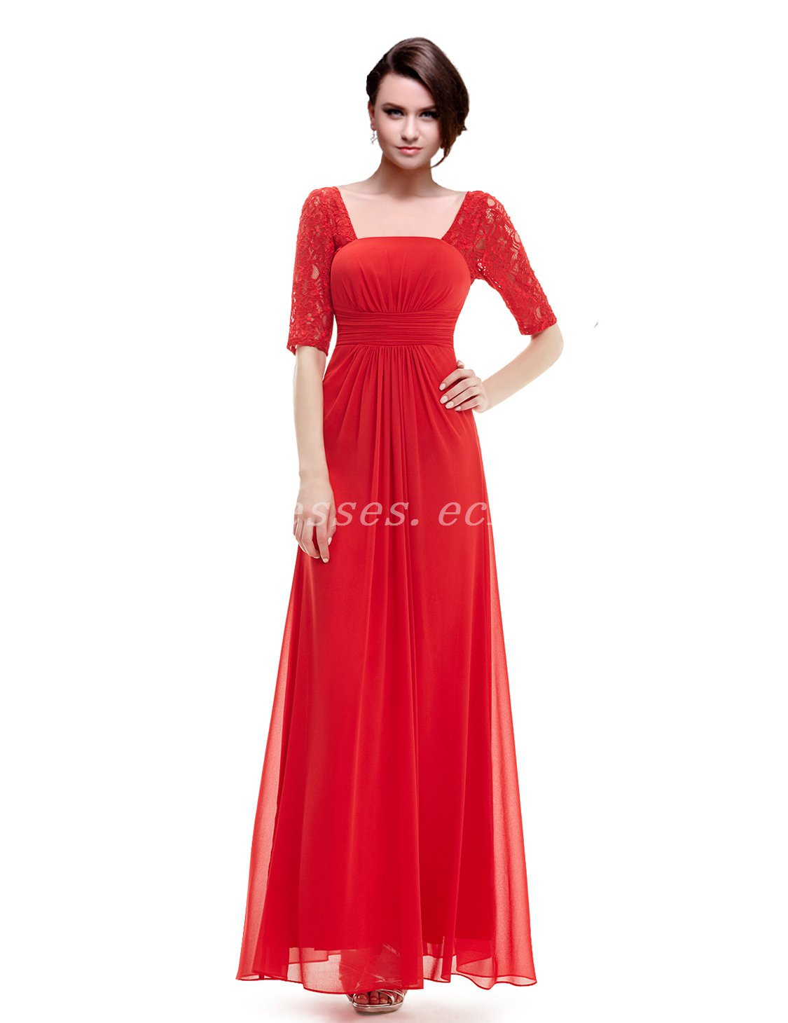 Half Sleeves Red Prom Dress With Lace