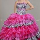 Classy Zebra And Fuchsia Sweet 15 Dresses With Ruffled Skirt