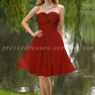 Knee Length Dark Red Chiffon Bridesmaid Dresses