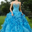 Exquisite Sweetheart Ball Gown Blue Organza Quinceanera Dresses