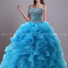Luxury Blue Organza Ball Gown Quinceanera Dresses With Heavy Beads