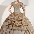 Modest Taffeta Champagne Quinceanera Dresses With Bolero