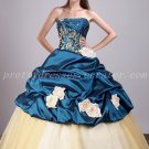 Beautiful Champagne And Turquoise Embroidery Quinceanera Dresses