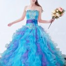 Colorful Organza Ruffled Blue And Purple Quinceanera Dresses
