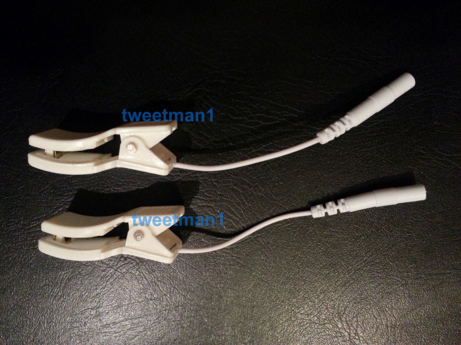 2 EAR CLIP CLAMP ELECTRODE WIRE LEAD CABLES~CONNECTORS FOR DIGITAL MASSAGER TENS