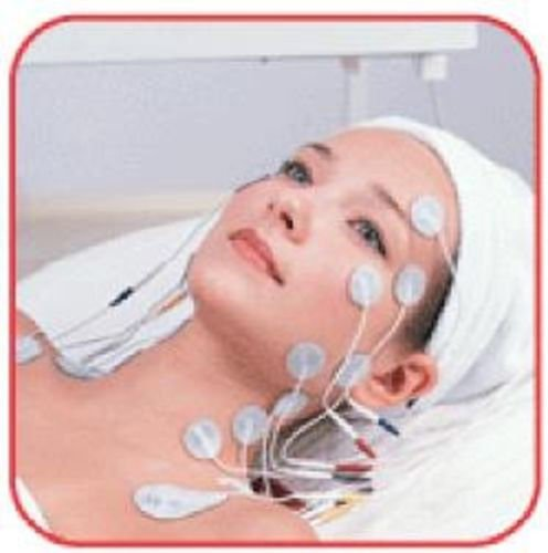 16 CIRCLE SHAPED MASSAGE PADS 3.5 cm WIRED ELECTRODES MICROCURRENT FACIAL TONING