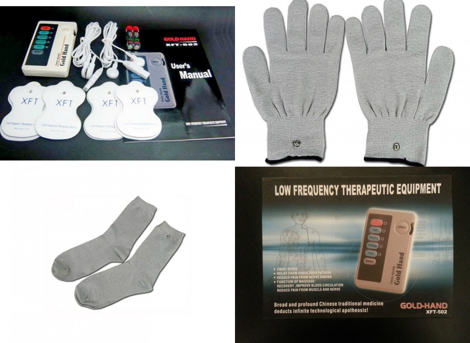 NIB GOLD HAND ELECTROTHERAPY TENS THERAPY MASSAGER W/CONDUCTIVE GLOVES+SOCKS
