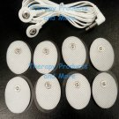 PINOOK COMPATIBLE DUAL LEAD WIRE + 8 OVAL MASSAGE PADS FOR TENS, IFC EMS ESTIM