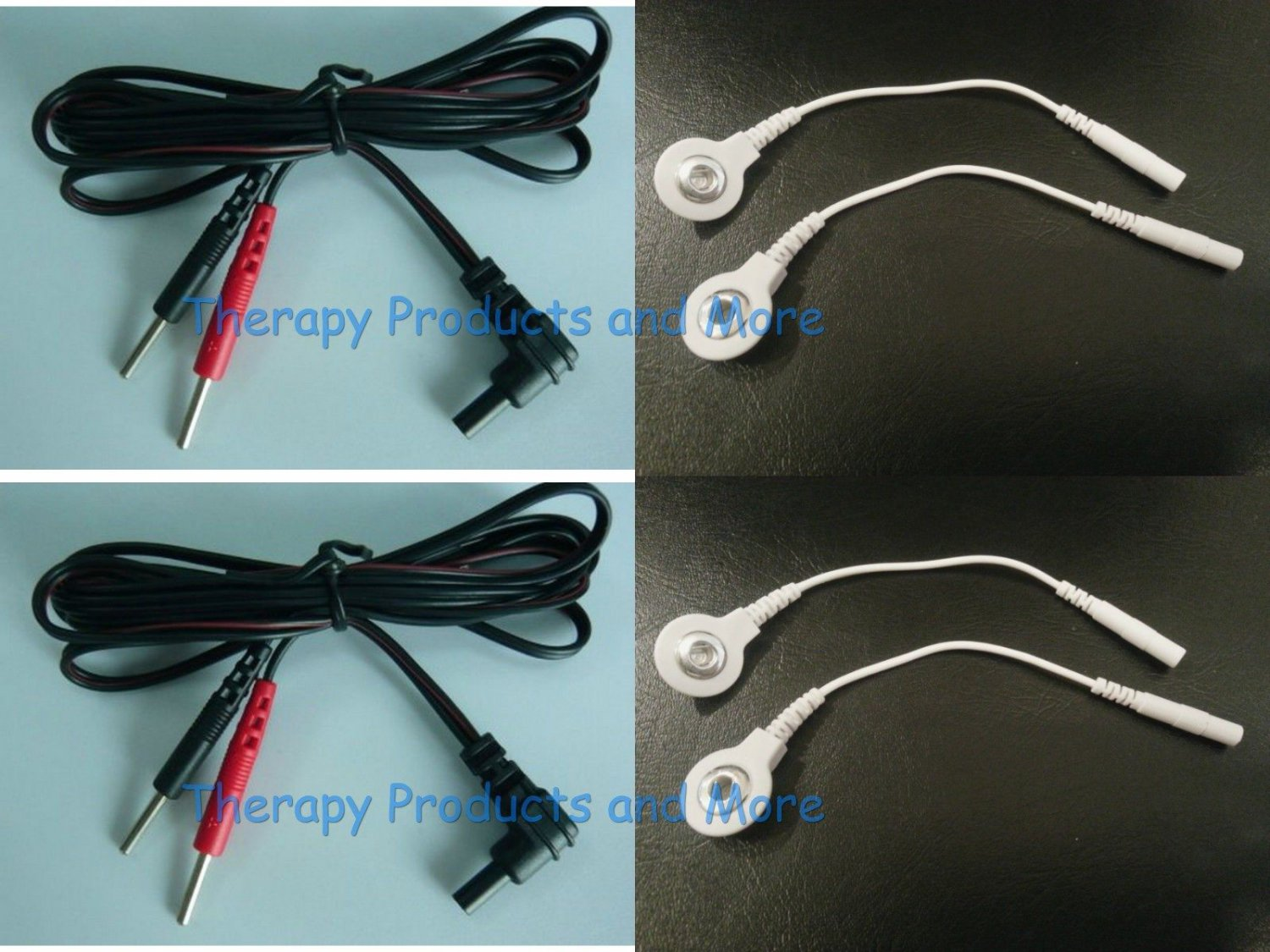 2 Electrode Cables for EMSI-2000 2001 2500 5000 Massagers-Use Snap OR Pin Pads!