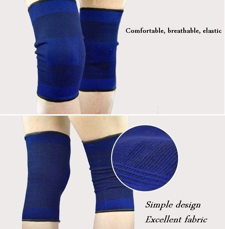 2 Pcs Pair Knee Support Compression Sleeve Blue New Light and Comfortable Design