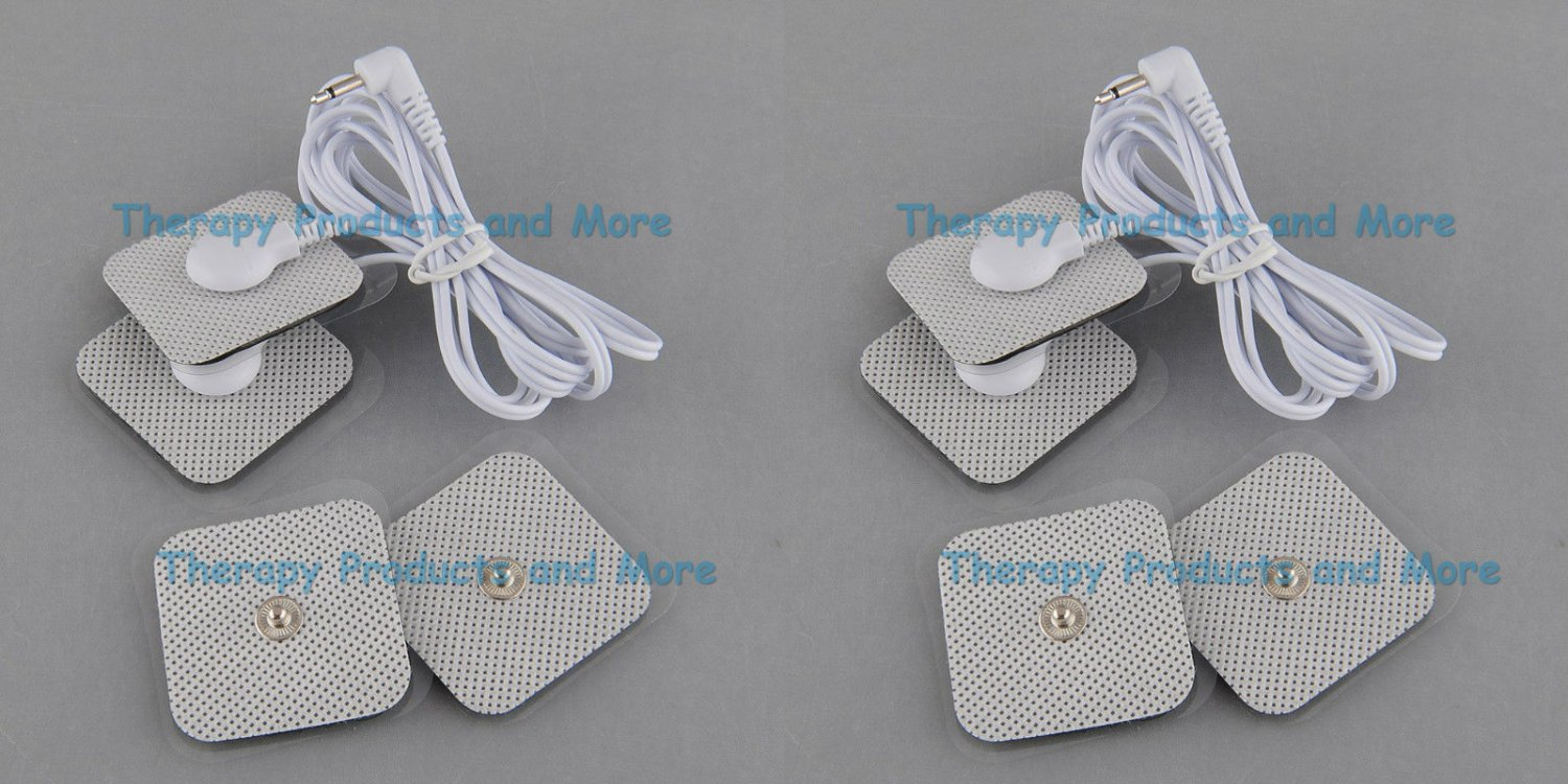 NEW SQUARE 8 Pads + 2 Lead Wires Compatible w/ OMRON PM3030 and Digital Massager