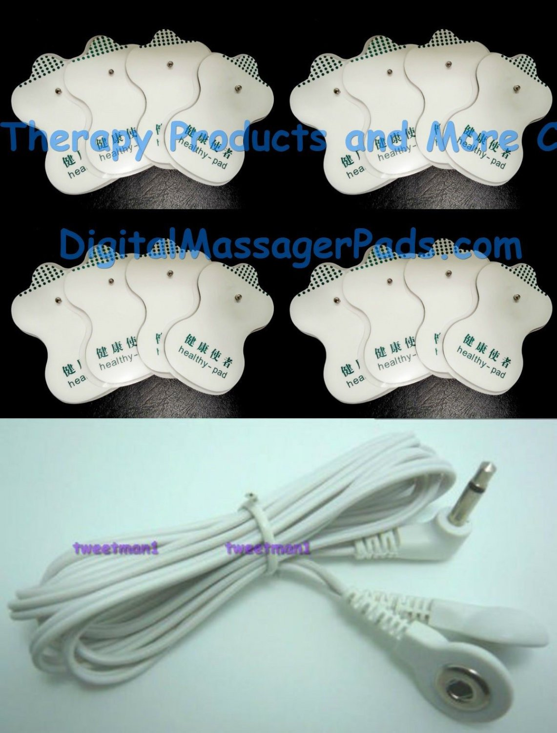 OMRON COMPATIBLE ELECTRODES REPLACEMENT MASSAGE PADS (16) WITH 3.5mm LEAD CABLE