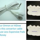 OMRON PM3030 - Compatible Electrode Wire/Lead Cable w/ 20 ELECTROTHERAPY PADS