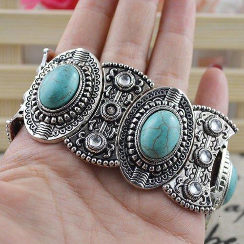 Womens Antique Vintage silver turquoise retro tribal style cuff bangle bracelet