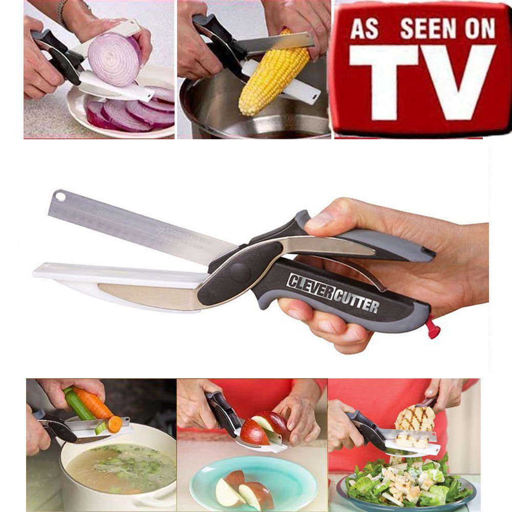2 Pc As Seen TV Multifunction Knife Clever Cutter 2-in-1 Cutting Board Scissors