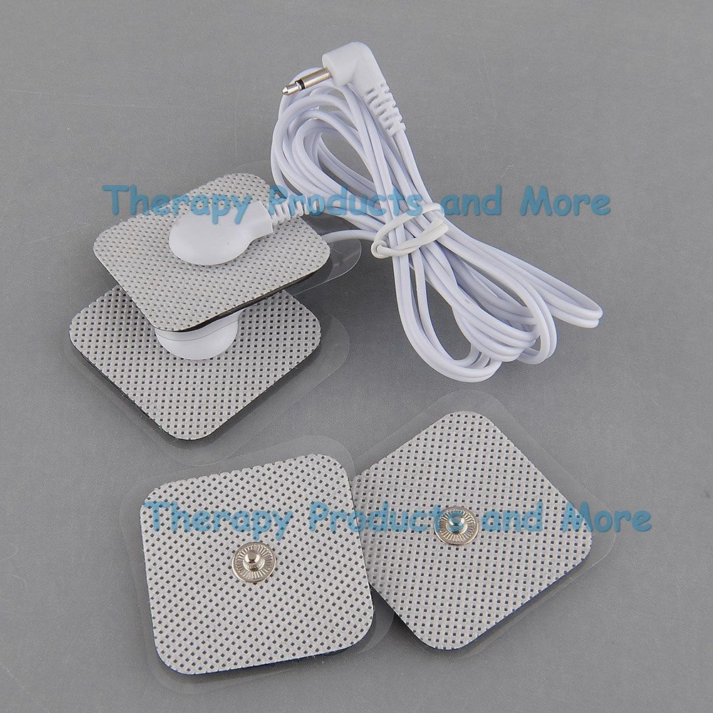 SQUARE SHAPED ELECTRODES MASSAGE PADS (4) + 3.5mm Plug CONNECTOR WIRE CABLE LINE