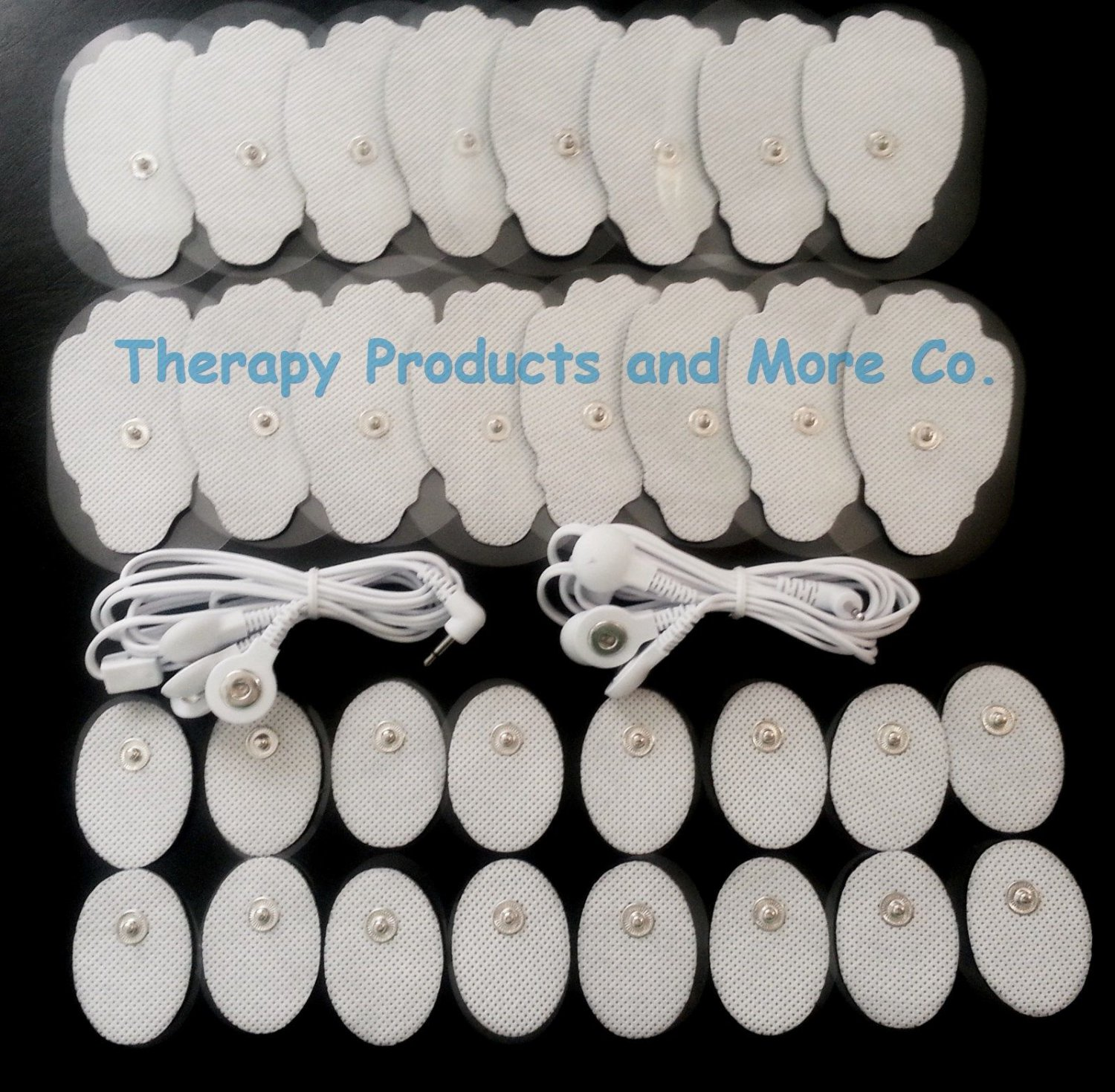 4 WAY ELECTRODE LEAD CABLES (2.5mm)+ 32 MASSAGE PADS FOR PINOOK DIGITAL MASSAGER