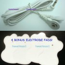 +BONUS PADS!+ 2 ELECTRODE LEAD WIRE Cables 3.5mm for Digital Massager TENS Snap