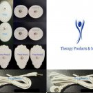 2 ELECTRODE LEAD CABLE (2.5mm) +4LG +4SM OVAL +4SM PADS FOR TENS THERAPY MACHINE