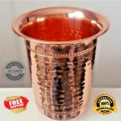 2 Pure Copper Hammered Beaded Drinking Glass 12 oz Yoga NEW