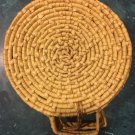 Round Wicker Basket w/ Handled Cover  Hand Woven  Light Tan Storage Sewing