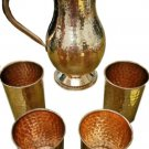New Pure Copper Handmade Jug  Water Pitcher 50 oz & 4 Four glasses 12 oz set
