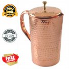 2 Set Pure Copper Jug (inside/ out) w/ Cover hammered Water Pitcher 62 oz  New