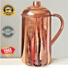2 Pure Copper Jug (inside/ out) w/ Cover Water Pitcher 62 oz Ayurveda 100% New