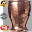 6 Beer Glass Pure Copper (In & Out) Goblet Drinking Pint Hammered 16 oz Yoga New