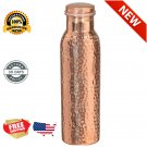 Hammered Copper Water Bottle Leakproof Jointless NO PLATING 30oz Yoga New