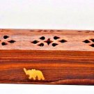 "Wooden Incense Burner 12"" COFFIN BOX Elephant print for sticks & cones New"