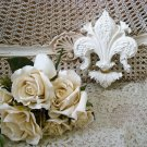 SHABBY FRENCH ORNATE PAINTED FLEUR DE LIS WALL HANGING ***SO PRETTY***