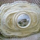 OLD SHABBY FRENCH ORNATE PAINTED METAL ARCHITECTURAL SALVAGE MIRROR ***SO CHIC**