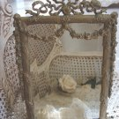 Old French Beveled Mirror Ornate Metal Frame Swags, Bows & Garlands