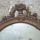 Exquisite SHABBY Antique French Hand MIRROR Carved ROSES CHIC