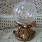 AWESOME CRACKLE GLASS GAZING BALL WITH ACANTUS LEAVES BASE