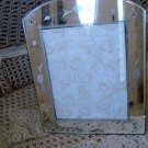 SHABBY VINTAGE ETCHED MIRROR PICTURE FRAME #3 WITH DOMED TOP **PRETTY**