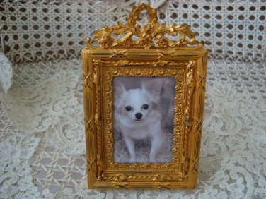 GORGEOUS ANTIQUE FRENCH FRAME WITH LAUREL WREATH & ROSES FROM FRANCE