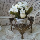 SHABBY VINTAGE ORNATE METAL FRENCH BOWL HOLDER OR PLANT HOLDER