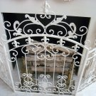 BEAUTIFUL SHABBY FRENCH ORNATE METAL FLEUR DE LIS FIREPLACE SCREEN **SO PRETTY**