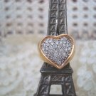 EXQUISITE PREOWNED VINTAGE 14 KT GOLD LARGE DIAMOND HEART RING **SO PRETTY**