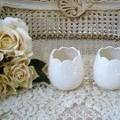 FRENCH ORNATE IVORY FLOWER GARLAND CERAMIC VOTIVE CANDLE HOLDERS **SO PRETTY**