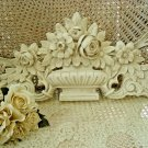 SHABBY FRENCH ROSES PEDIMENT ARCHITECTURAL HEADER *HANG OVER A MIRROR OR DOOR*
