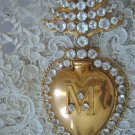 RARE French Antique Authentic Ex Voto Sacred Heart Jeweled With Clear Stones