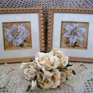 SET OF 2 BEAUTIFUL FLOWER FRAMED PICTURES WALL ART ***SO ELEGANT***