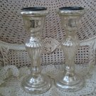 SET OF TWO SHABBY REPRODUCTION MERCURY GLASS PILLAR CANDLEHOLDERS